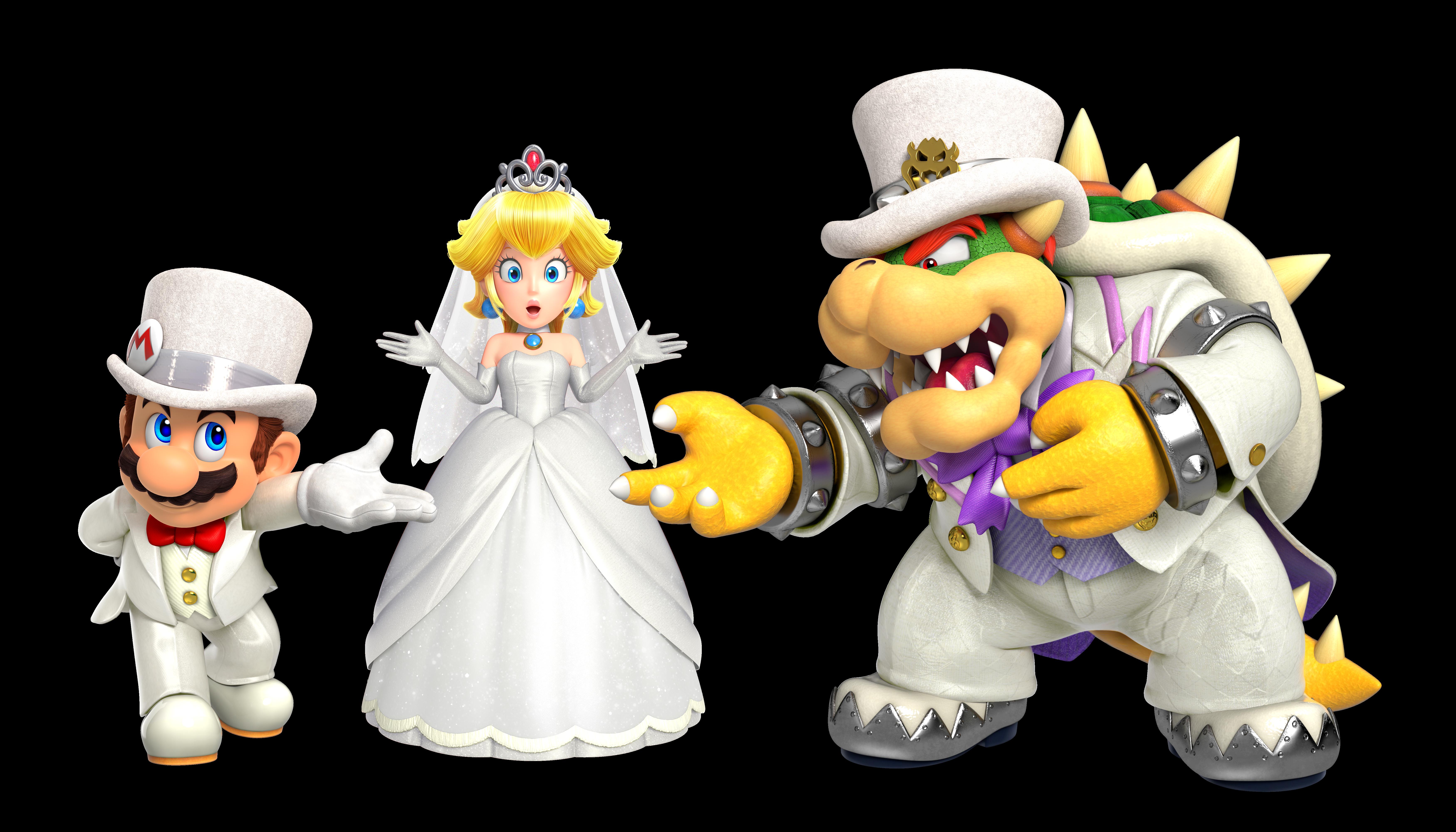 bowser, mario, and princess peach (super mario odyssey and