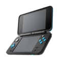 Black + Turquoise (open and angled shot) - New Nintendo 2DS XL.png