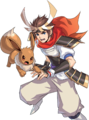 Hero and Eevee (Rank 1) (alt) - Pokemon Conquest.png