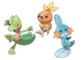 Treecko Torchic and Mudkip - Pokemon Omega Ruby and Alpha Sapphire.png