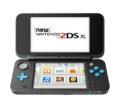 Black + Turquoise (open shot) (angle) (powered on) - New Nintendo 2DS XL.png