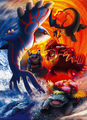 Kanto starters with Groudon and Kyogre - Pokemon Center Japan.png
