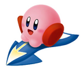 Kirby on a Steer Star - Kirby Air Ride.png