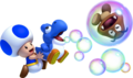 Blue Toad and Bubble Baby Yoshi - New Super Mario Bros U.png