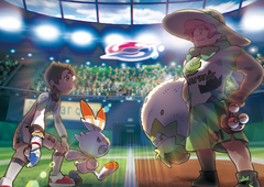 The male player character challenging Gym Leader Milo from Pokémon Sword and Shield