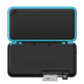Black + Turquoise (open shot) (back with opened card slot) - New Nintendo 2DS XL.png
