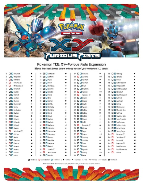 graphic regarding Pokemon Card Checklist Printable called Document:Cardlist EN - Pokemon TCG XY Furious Fists.pdf - PidgiWiki