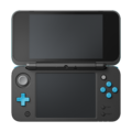 Black + Turquoise (open shot) - New Nintendo 2DS XL.png