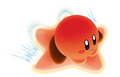 Red Kirby on a Flight Warpstar - Kirby Air Ride.png