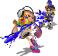 Blue Inkling vs Orange Inkling (with shadow) - Splatoon.png