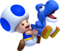 Blue Toad and Bubble Baby Yoshi (alt 2) - New Super Mario Bros U.png