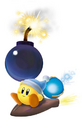 Yellow Kirby using Bomb - Kirby Air Ride.png