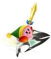 Sword Kirby on a Jet Star - Kirby Air Ride.png